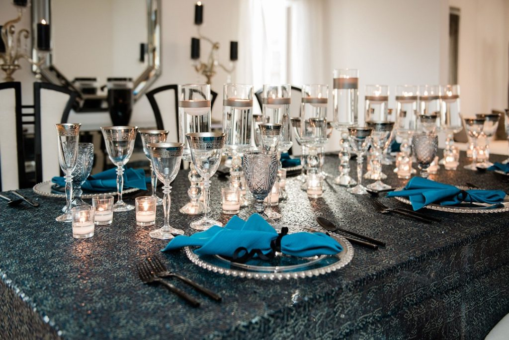 black silver and teal Hanukkah place setting
