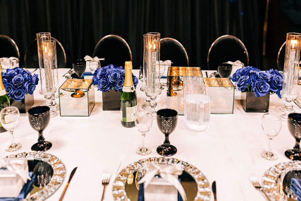 Looking for a masculine theme for a 50th birthday party for your husband or boyfriend? This elegant navy, silver and black milestone party is full of decorations and ideas for men turning 50! #50thbirthday #milestonebirthday #partyideas