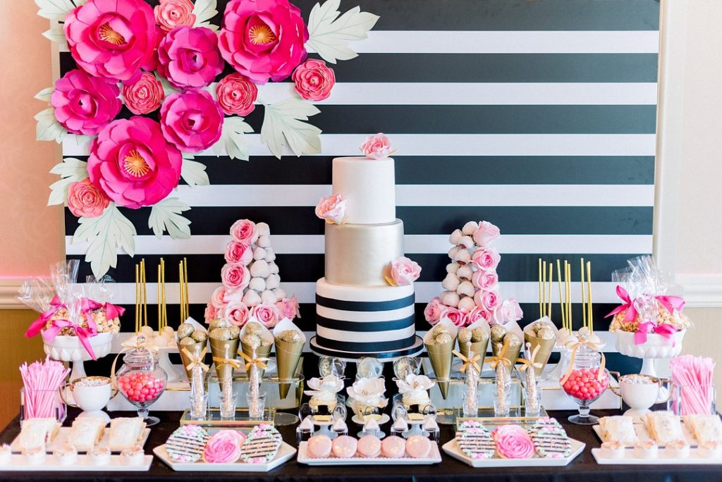Kate Spade Inspired bridal shower dessert table