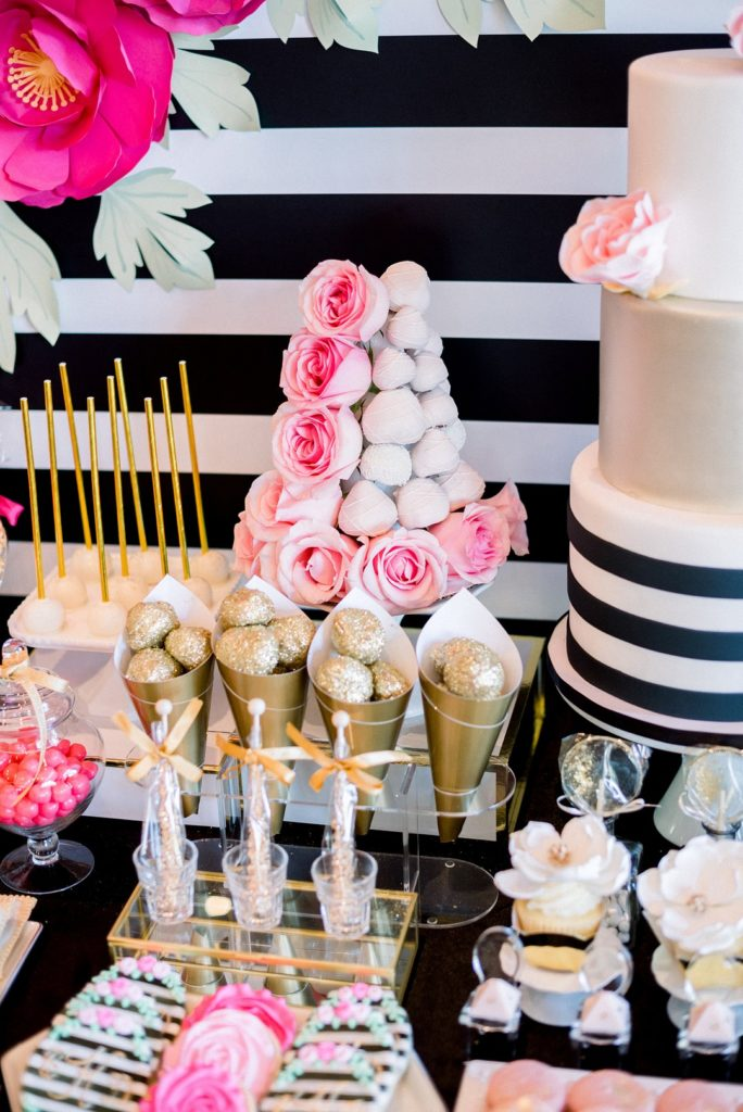 This elegant Kate Spade Inspired Bridal Shower theme is full of party ideas for decorations, table settings, cookies, the cake, photo backdrop, favors and more! #bridalshower #katespade #partytheme #wedding