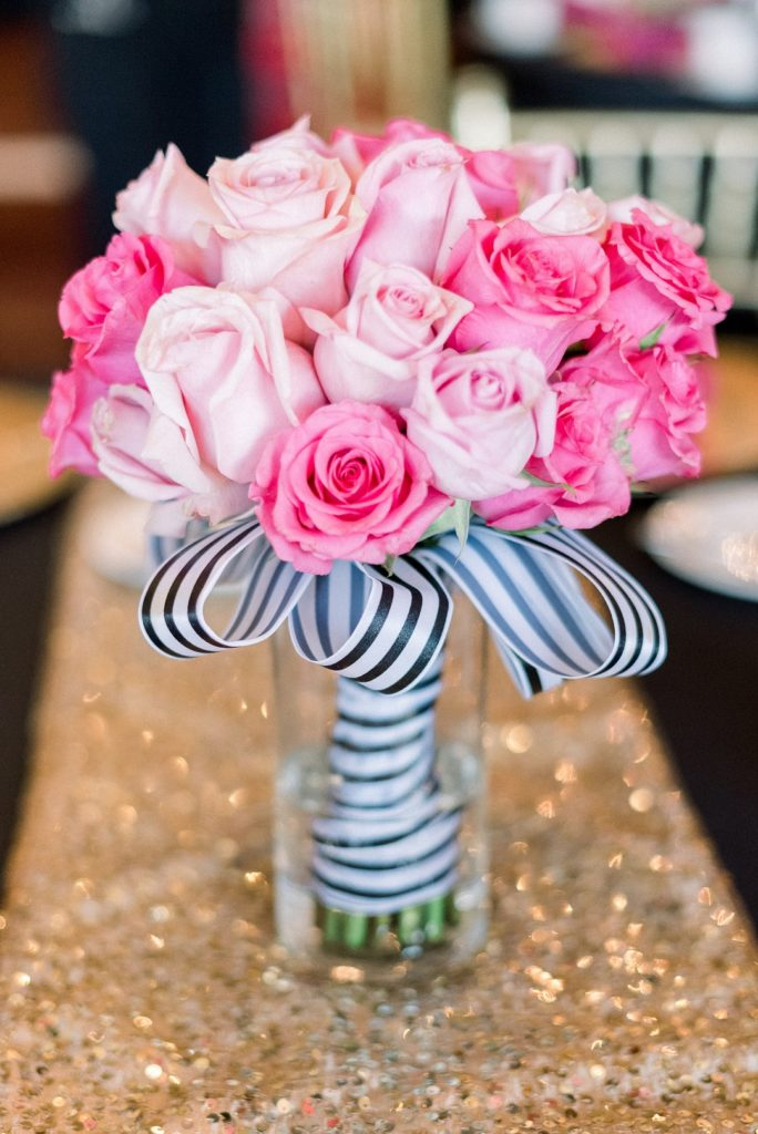 Kate Spade Inspired bridal shower floral centerpieces