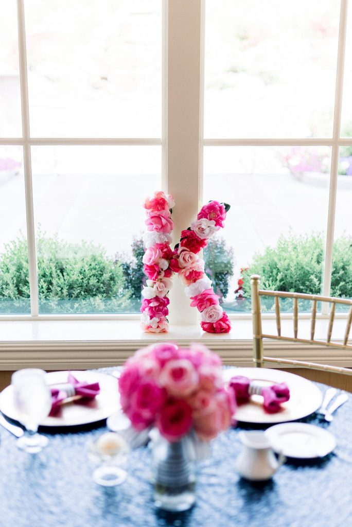Kate Spade Inspired bridal shower floral centerpieces and decor