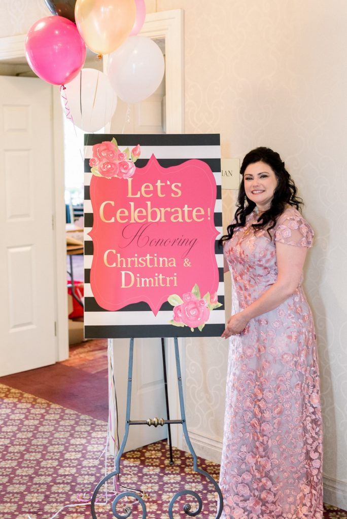 Kate Spade inspired bridal shower welcome sign and bride-to-be