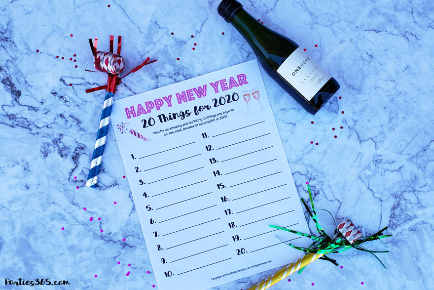 Ready to plan an amazing New Year? Grab our FREE downloadable New Year's 20 Goals for 2020 Printable! Perfect for New Year's Eve parties, New Year's Day Brunch or just for fun! #NewYears #printable #freebies #goalsetting #2020 #NewYearsEve