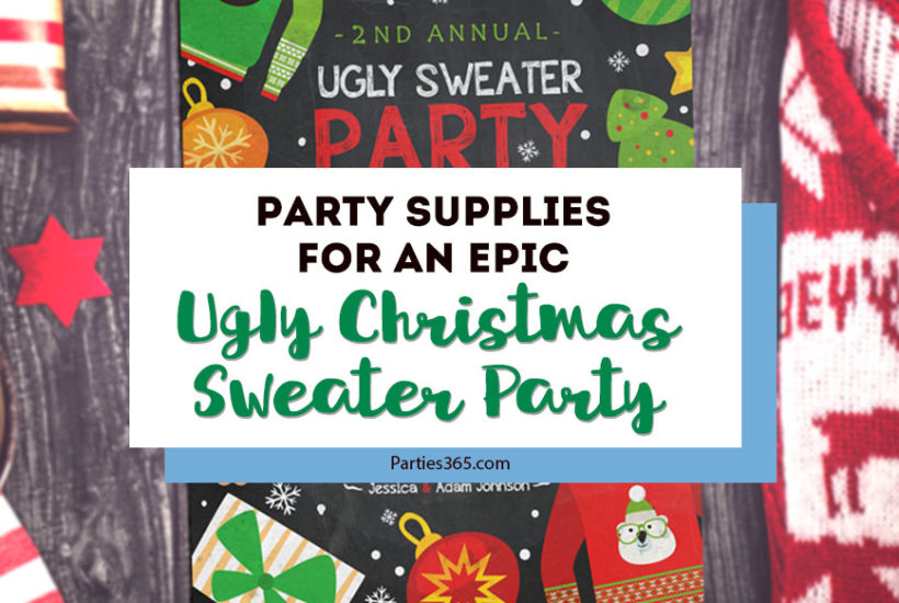 Throw an epic Ugly Christmas Sweater Party with these festive ideas for decorations, invitations, outfits and more! We also have inspiration for games, a photo booth and other DIY Christmas decor you'll love! #uglychristmassweater #christmasparty #holidayparty #christmas #christmasdecorations