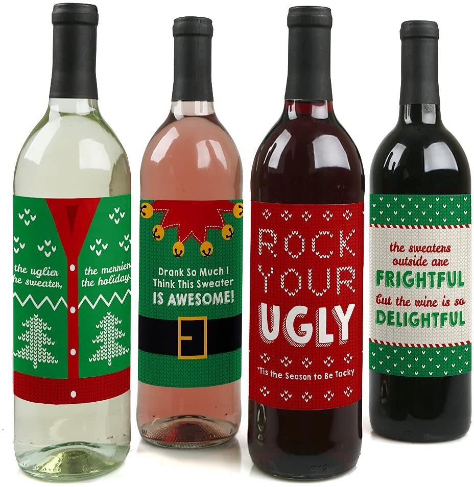ugly Christmas sweater wine bottle labels for party