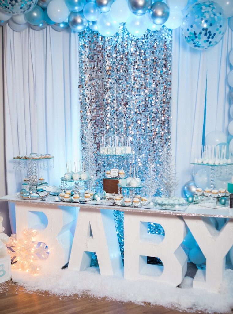 winter wonderland baby shower dessert table