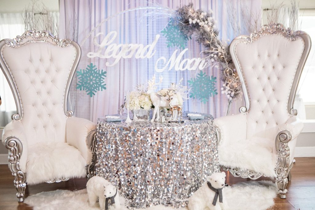 silver Winter Wonderland Baby Shower photo booth