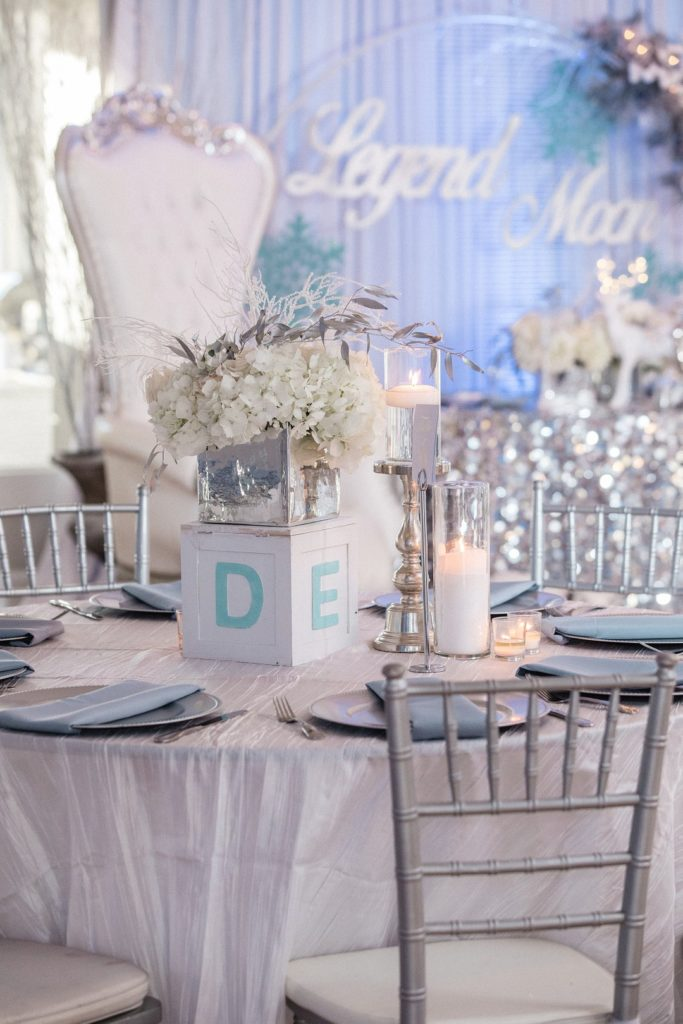 winter wonderland baby shower tablescape and centerpiece ideas