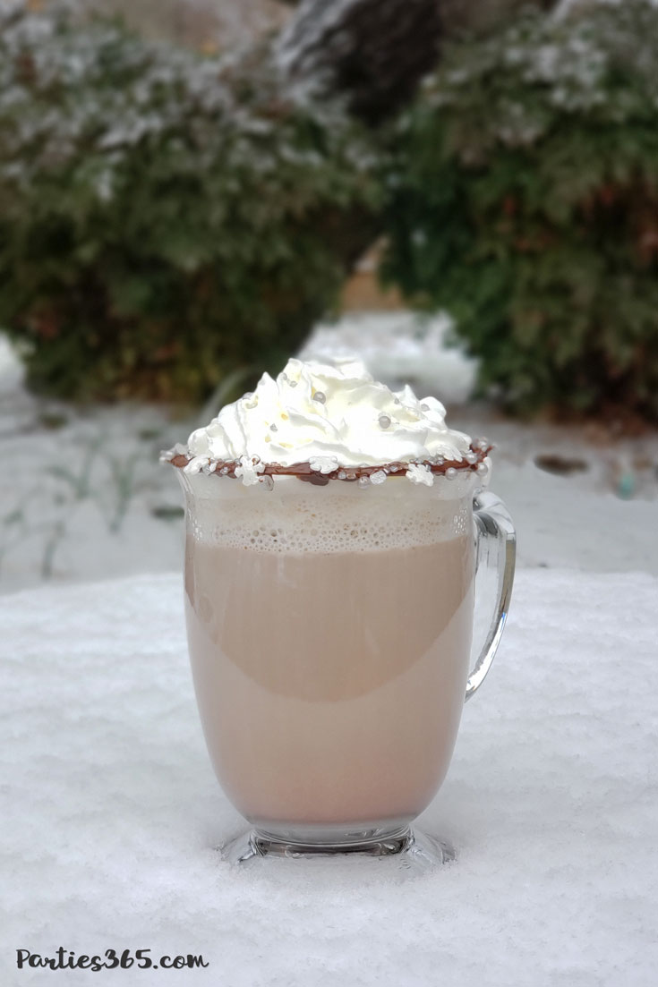 boozy bourbon hot chocolate winter cocktail glass in snow