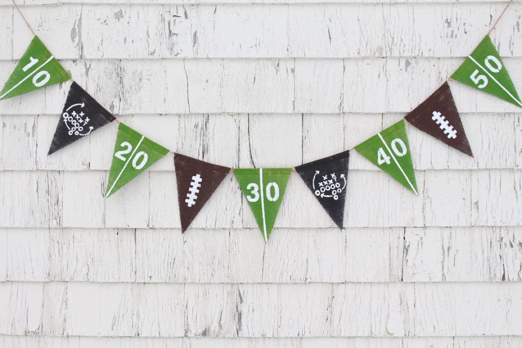 super bowl football burlap banner for party