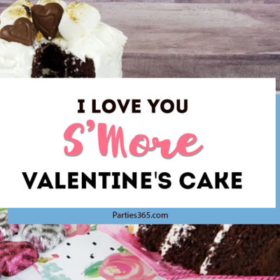 "This easy and delicious ""I Love You S'Mores"" cake is perfect for Valentine's Day for him or for the kids! A perfect combo of chocolate, marshmallow buttercream frosting and graham crackers, here are decorating ideas and a recipe for a beautiful homemade cake! #valentines #valentinesday #smores #cakerecipe"