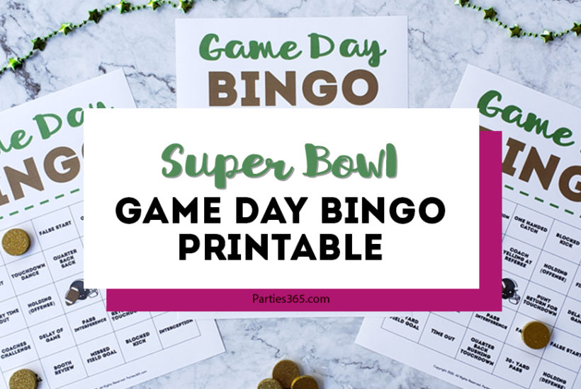 Hosting a Super Bowl Party and want a fun football themed activity? Download our free printable Game Day Bingo Cards for added excitement on the big day! #superbowl #printable #football #bingo #gameday