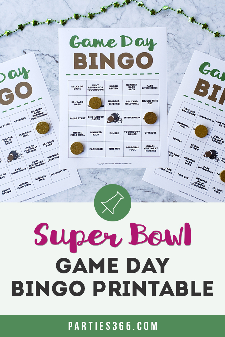 Super Bowl Party and game day bingo printable game