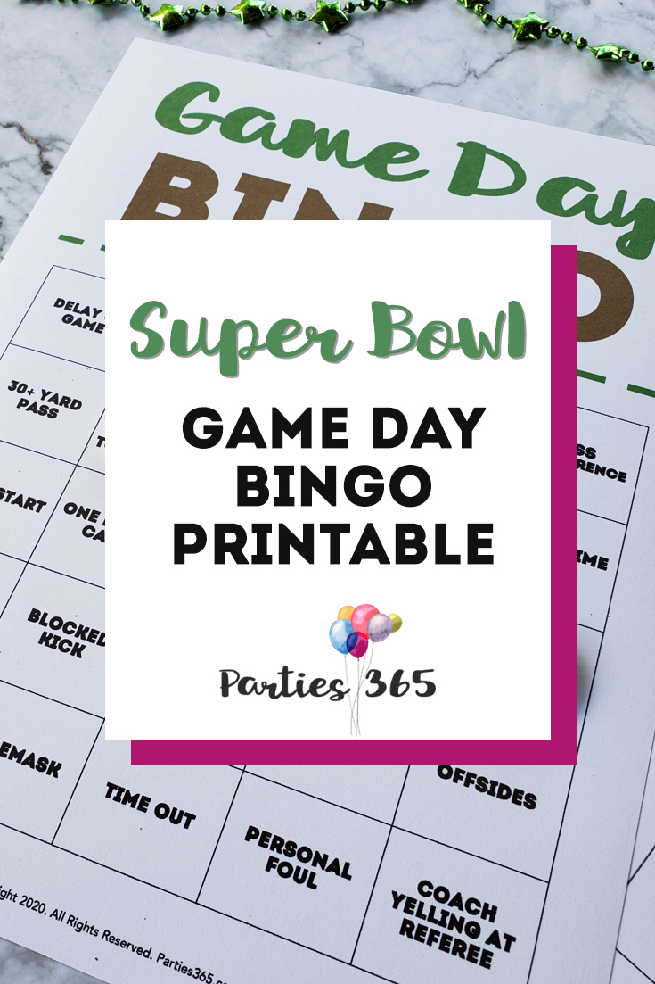 Super Bowl Game Day Bingo Printable Game Cards