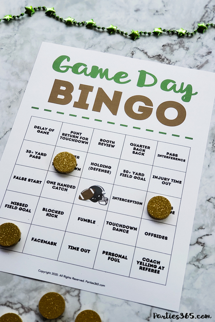 Super Bowl Game Day Bingo printable game card