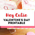 "This free printable ""Hey Cutie"" Valentine's Day Card for kids is perfect for preschool or any school classroom! Grab these cute tags for an easy DIY Valentine's gift or treat! #valentine #valentinesday #printable #giftideas"