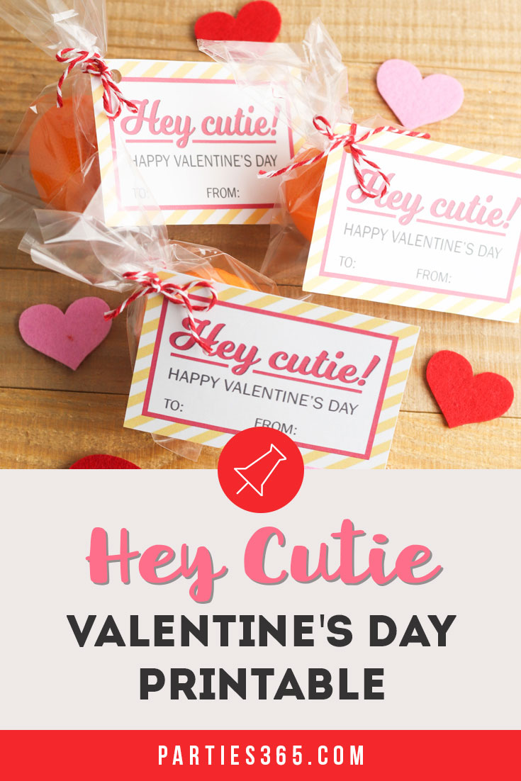 "free printable ""Hey Cutie"" Valentine's Day Card for kids"