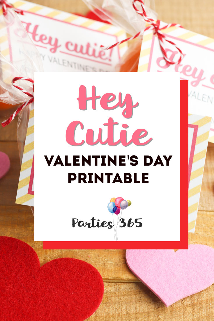 hey cutie Valentine's Day printable gift tag for kids