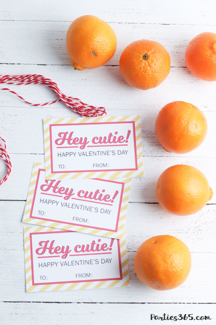 "free printable ""Hey Cutie"" Valentine's Day Card for kids with mandarin oranges"