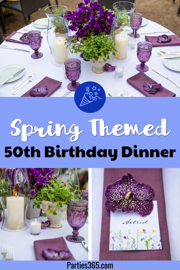 This gorgeous spring tablescape has the perfect ideas for decorations, centerpieces and place settings for a 50th birthday party!