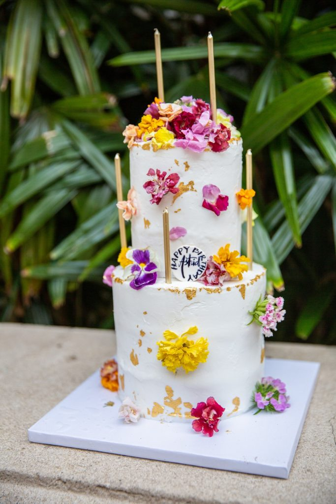 floral 50th birthday cake