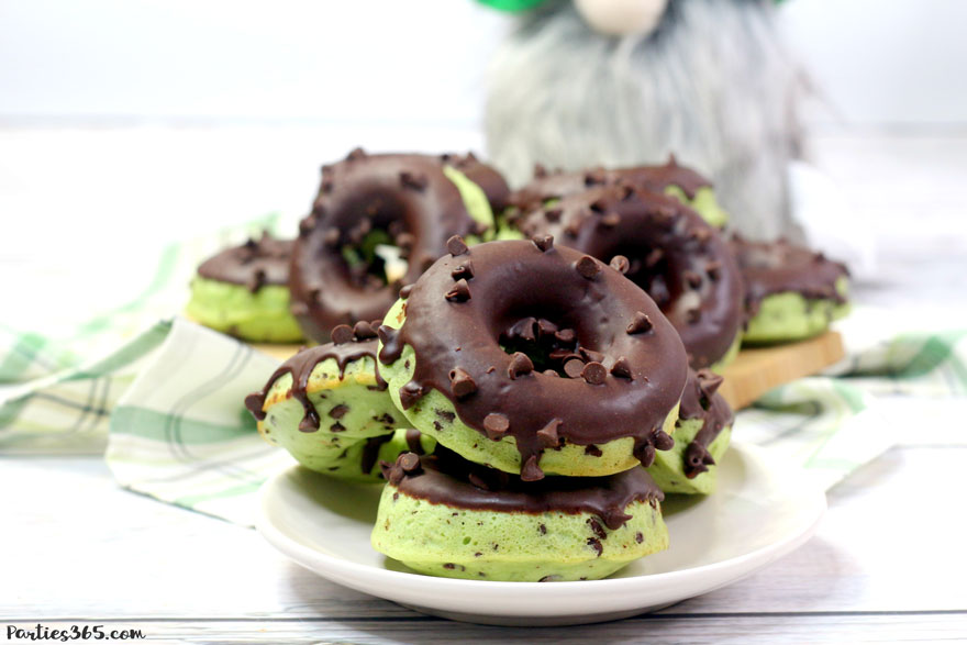 mint chocolate chip donut stack for St. Patrick's Day