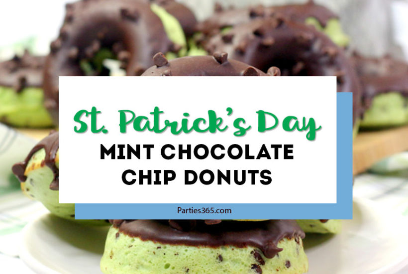 Need ideas for a special breakfast this St. Patrick's Day for the kids? These easy, homemade, baked Mint Chocolate Chip Donuts are the perfect surprise! Ideal for a St. Paddy's Day party or at home, whip these up from scratch and win the day!