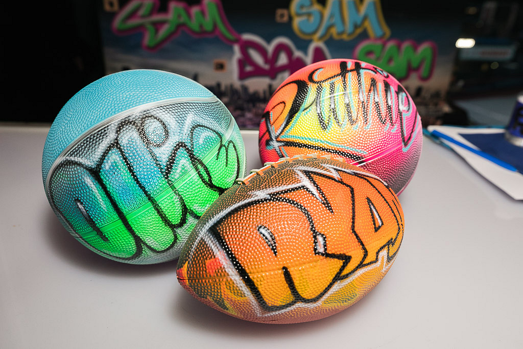 airbrushed sports balls