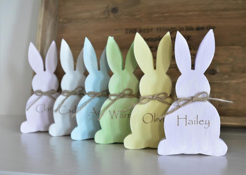 Easter bunny wooden name cards