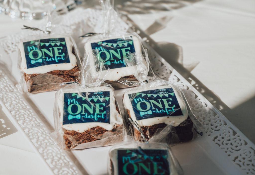 custom first birthday brownies
