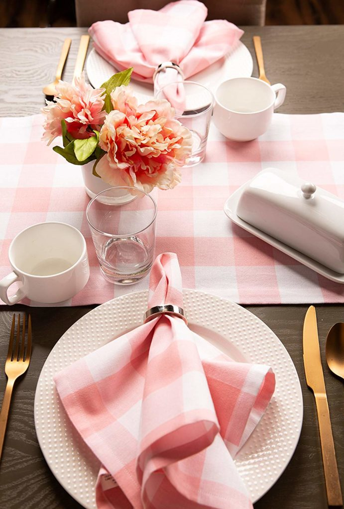 Easter pink buffalo plaid table runner
