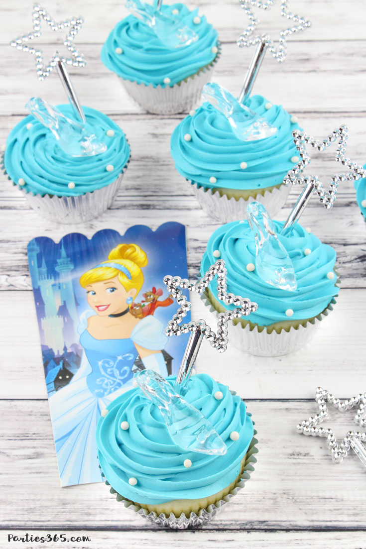blue Cinderella glass slipper cupcakes with magic wand