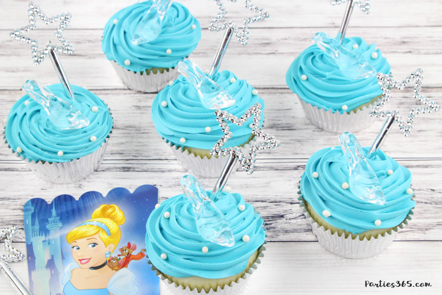 blue Cinderella cupcakes with glass slipper and magic wand
