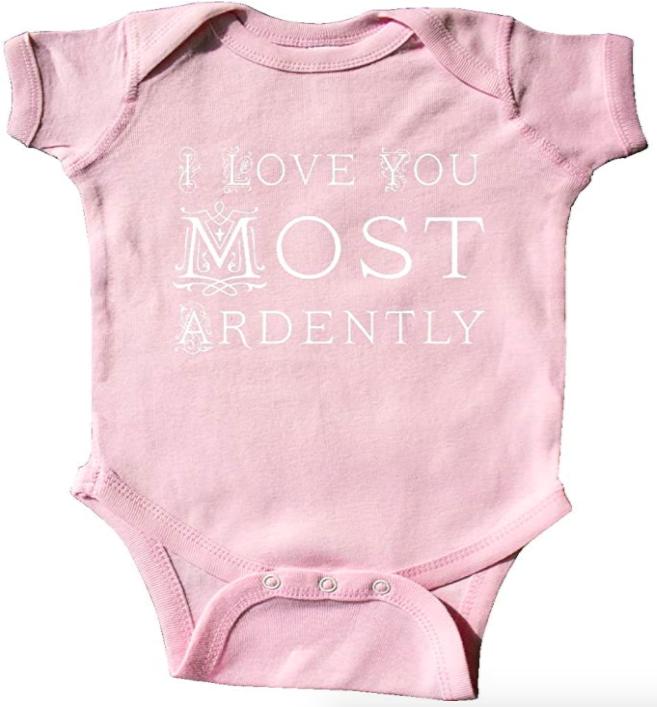 pink Jane Austen baby onesie