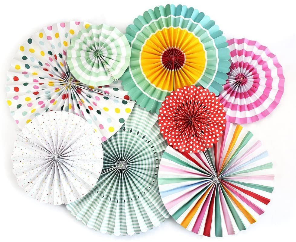colorful paper fans