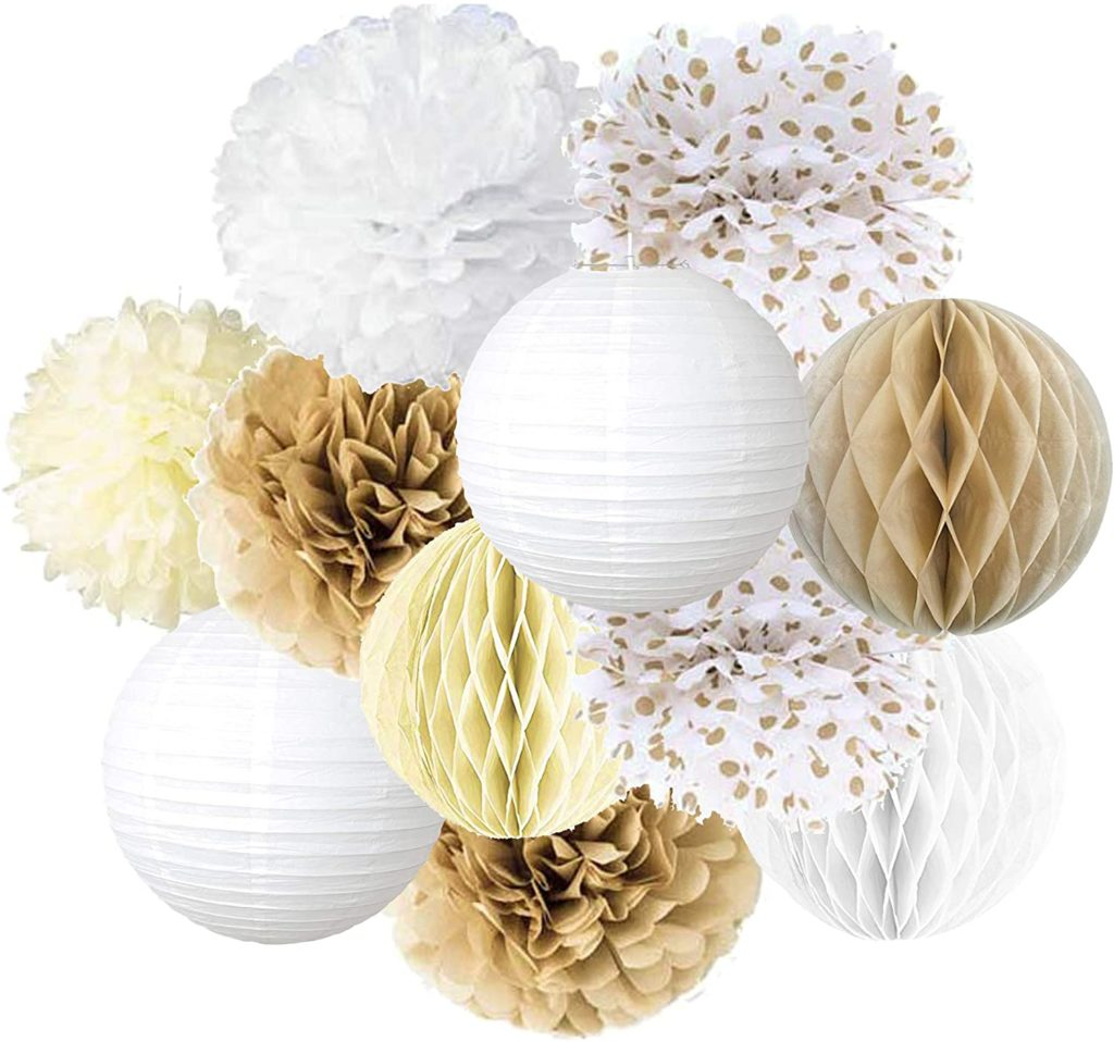 white and gold paper honeycombs, paper lanterns and paper flowers