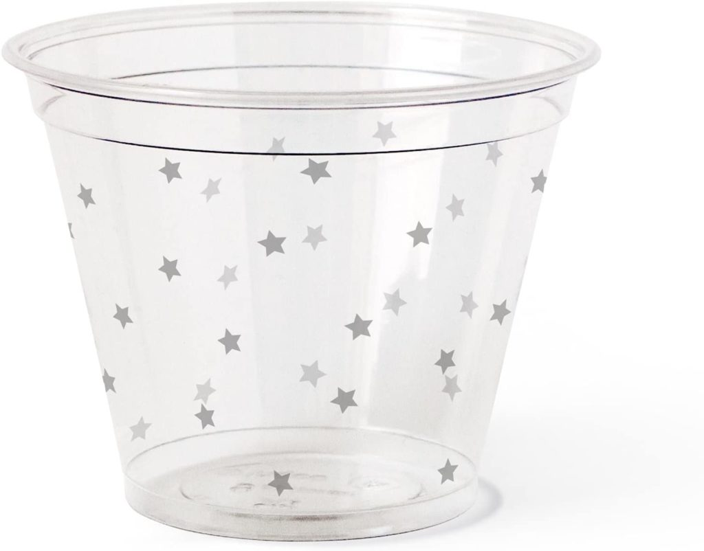 biodegradable Susty party cup with gray stars