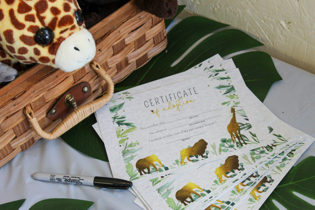 wild animal adoption certificate for party