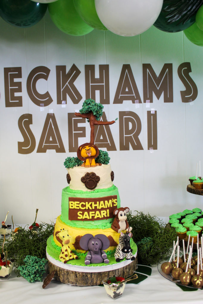safari themed first birthday cake