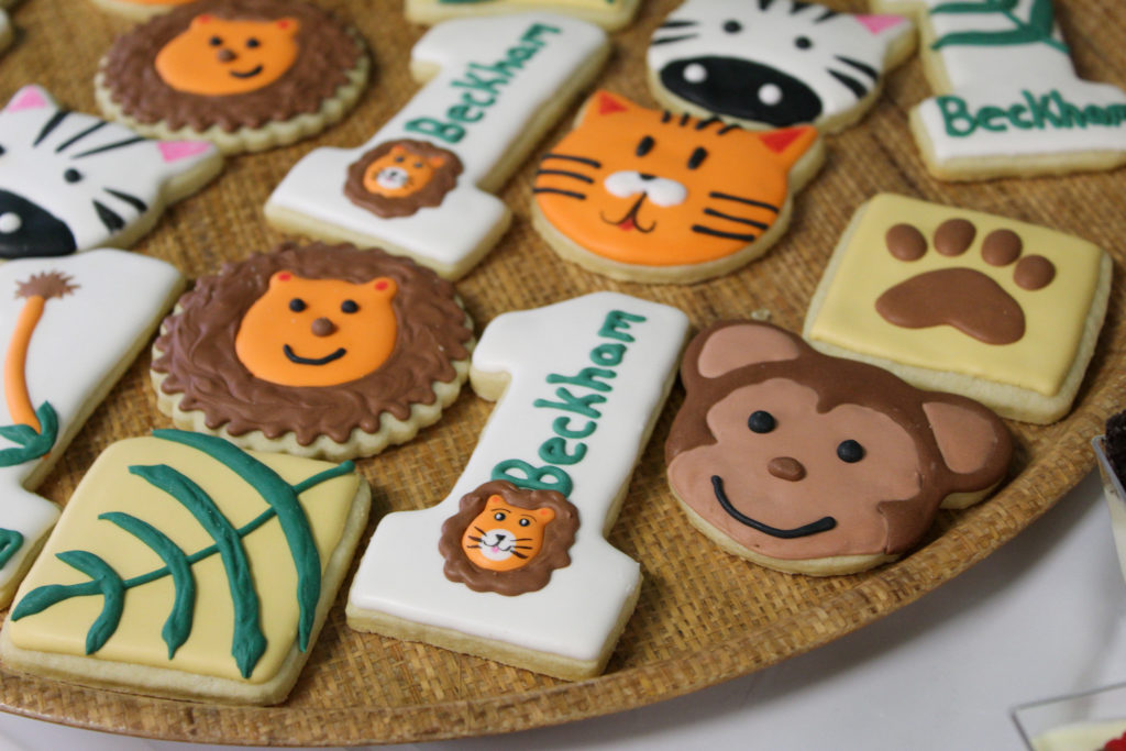 custom cookies for a safari themed first birthday