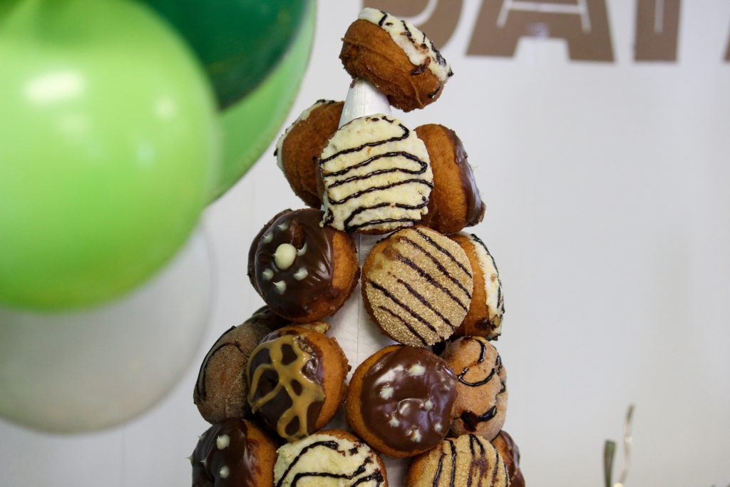 animal print donuts stacked in a tower