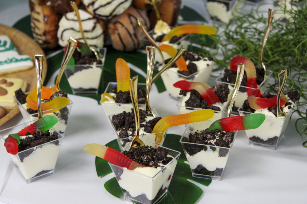 gummy worms in dirt dessert at party