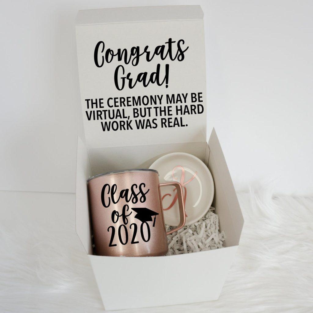 white graduation gift box