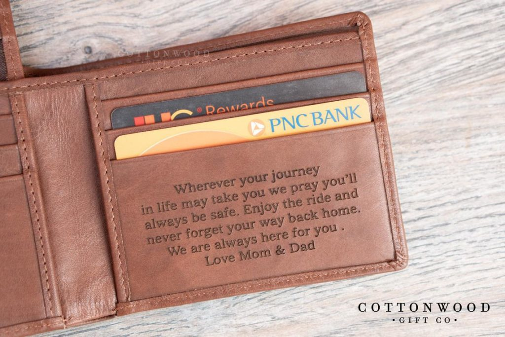 personalized leather wallet graduation gift