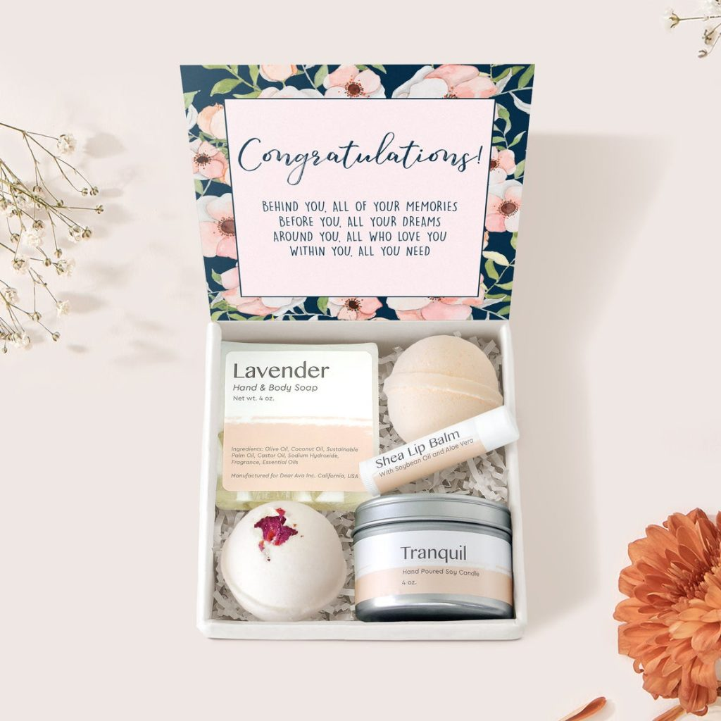 spa themed graduation gift box