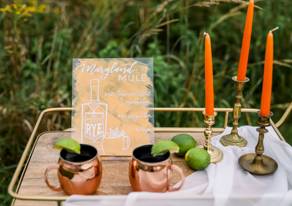 vintage styled bar cart with moscow mule