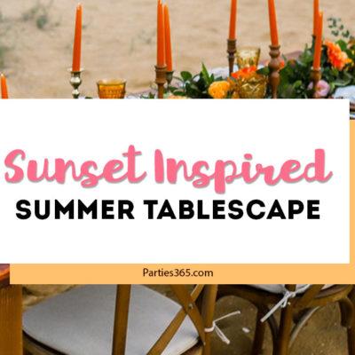 sunset inspired summer tablescape