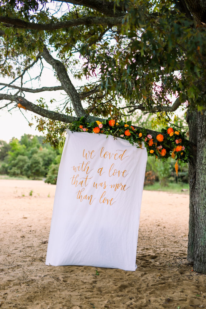 outdoor photo backdrop on a tree