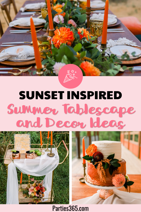 sunset inspired summer tablescape and decor ideas